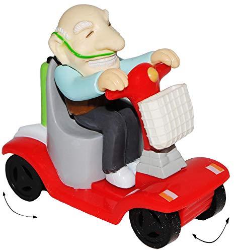 alles-meine.de GmbH 1 Stück _ Aufziehfigur -  lustige Opa / Rentner / Großvater  - Aufzieh Figur zum Laufen & Wettrennen - elektrischer Rollstuhl - lustig witzig - Geldgeschenk..