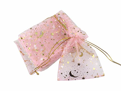 QIANHAILIZZ 100 Moon Star Organza Jewelry Gift Pouch Candy Pouch Drawstring Wedding Favor Bags (pink, 3.5 x 4.7 inch)