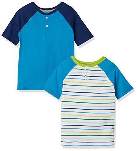 Amazon Essentials Short-Sleeve Henley T-Shirts Camicia, Confezione da 2 Strisce, 8 Anni