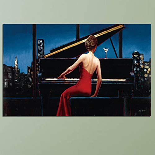 ZYBKOG Leinwandbild Hd Print Musiker Wandkunst Gemälde Sexy Girl Playing Piano Poster Und Drucke Kunst Bilder Druck Auf Leinwand Wohnzimm