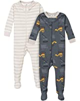 Gerber Baby Boys' 2-Pack Footed Pajamas, Dump Truck Grey, 12 Months