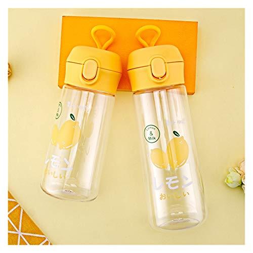 YSJSPOL Taza de Agua 350/500 ml Botella de Deporte plástica para Agua Patrón de Dinosaurio Lindo Bebiendo Botella de Bicicleta Tazas de Agua para niños (Capacity : 500ML, Color : Yellow Lemon)