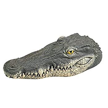 Fewear Floating Alligator Decoy Alligator Head Decoy & Pond Float with Reflective Eyes for Geese & Blue Heron Control,Floating Crocodile Head Water Decoy Garden Pond Art Decor for Goose Control  A
