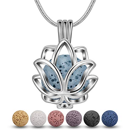 INFUSEU Lava Stone Essential Oil Diffuser Necklace Lotus Blossom Aroma Therapy Jewelry set for Women, 5 PCS Lava Rocks, 24' Snake Chain