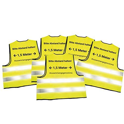 5X Warnwesten mit Abstandswarnung - Bitte Abstand halten 1,5m - und Reflektorstreifen nach EN ISO 20471 Zertifiziert Sicherheitsweste Gelb mit Klettverschluss Einheitsgröße XXL (5X Gelb)