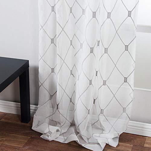 Geometrische geborduurde vitrages Tule gordijnen voor keuken Woonkamer Slaapkamer Wit Voile voor Cafe, grijs, W500 x H250cm