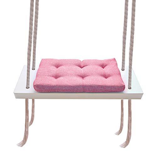 Hi Suyi Asiento de columpio para niños con cojín para interior de madera maciza de juguete columpios decoración de habitación muebles para niños princesa niñas (rosa)