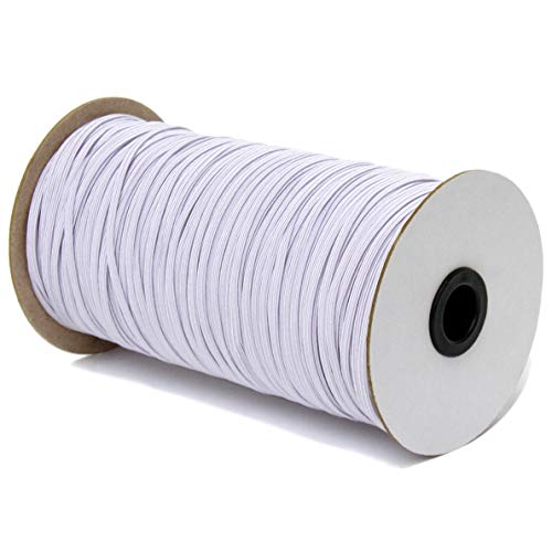 Elastic Bands for Sewing - 200 Yards 1/8 inch Elastic String for Masks - Braided Off White Elastic Band for Making Crafts - High Elasticity Flat 3mm Wide Cord (1/8'- 200 Yards)