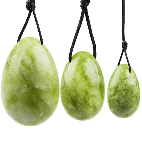 Yoni Eggs-June&Ann-Lot de 3œufs percés naturels pour la guérison des chakras, lacet, pour renforcer les muscles pelviens chez la femme