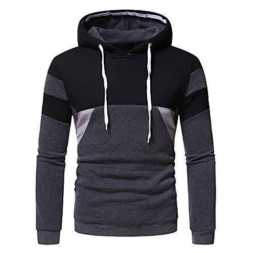 Sudadera con capucha de color casual para hombre, con capucha suelta de código europeo, suave y cómodo para adultos, color ceniza oscura, talla Xl