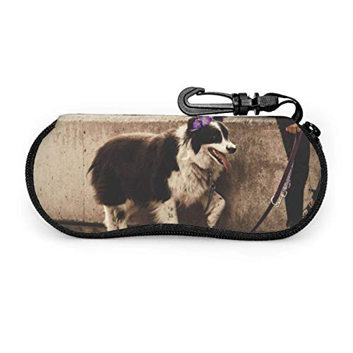Gafas de sol Border Collie blancas negras portátiles con hebilla de bloqueo Bolsa suave Funda de gafas con cremallera de tela de buceo ultraligera