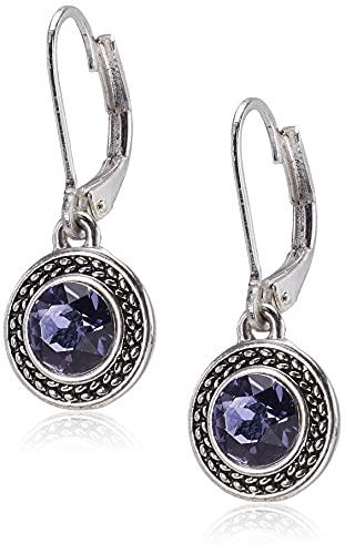 Napier Women's Color Declaration, Silver Tone Tanzanite Crystal Glass Leverback Drop Earrings