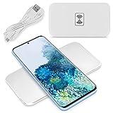 NAUC Estación de carga inalámbrica QI compatible con Samsung Galaxy S20 / Plus / Ultra/FE inalámbrico, cargador universal de carga rápida, color: blanco