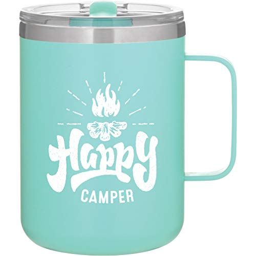 MugHeads Happy Camper Mug - Camping Gifts for Men - Camp Accessories for Women - Happy Camper Decor - Camp Mug - 16oz Powder Coated Vacuum Insulated Camping Mug with Lid (Matte Mint)