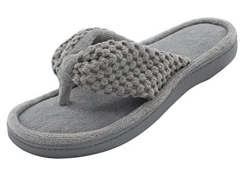 ULTRAIDEAS Women's Memory Foam Flip Flop Slippers with Cozy Terry Lining, Moisture-Wicking Open Toe Slip On, Ladies' House Shoes with Indoor Outdoor Anti-Skid Hard Rubber Sole (Gray,7-8)