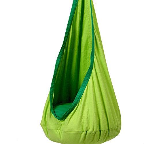 YCHCH Hangende zintuiglijke schommel voor kinderen, doek katoen met luchtkussen Hangende hangstoel voor binnen en buiten voor kinderen Volwassen 80 KG Capaciteit - Pony White