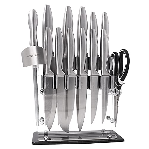 15 Pieces Knife Set-Beafuorct Chef's knife,Kitchen Knife Set with Block,6 Steak Knives,Kitchen Scissors Knife Sharpener,Finger Protection&Acrylic Stand-Best Cutlery Set Gift