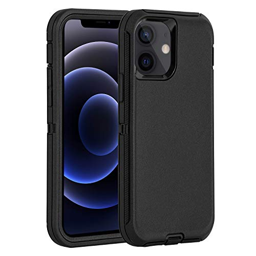 "Defend Case for iPhone 12 /iPhone 12 pro Heavy Duty Shockproof Drop-Proof Triple Layer Defense Cover for Apple iPhone 12/iPhone 12 pro 6.1"" 5G 2020 (Black)"