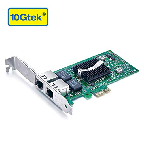 10Gtek for Intel 82576 Chip 1.25G Gigabit Ethernet Converged Network Adapter (NIC), Dual RJ45 Copper Ports, PCI Express 2.0 X1, Compare to Intel E1G42ET