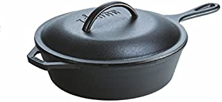 Lodge 3 Quart Cast Iron Deep Skillet with Lid. Covered Cast Iron Skillet for Deep Frying and and Bread Baking.