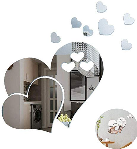 GadgetcKing 3 Love Heart Mirror Tiles Kitchen Wall Sticker Stick on Decal Home Bedroom Decor Removable Acrylic Mirror Setting Wall Sticker Decal for Home Living Room