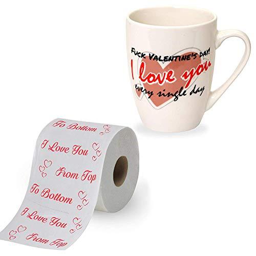 Mia Mio - Lustiges Toilettenpapier + Tasse als Geschenk für Sie/Ihn zum Valentinstag (I Love You from top to Bottom & FCK Valentines Day I Love You Every Single Day)