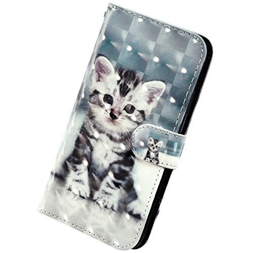 Herbests Kompatibel mit Samsung Galaxy A10 Handyhülle Hülle Flip Case Glänzend Glitzer Bling 3D Muster Leder Schutzhülle Klappbar Bookstyle Brieftasche Ledertasche mit Magnet,Katze