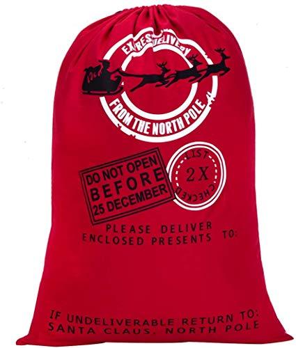 "HBlife Blank Santa Sack 27.6""x39.4"" Extra Large Size Christmas Bag with Drawstring, XL C"
