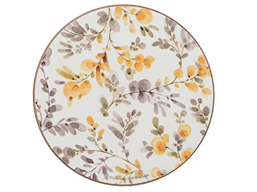 Creative Tops - Set di 4 sottobicchieri con retro in sughero, motivo 'Fields of Gold', rotondi, bianco, 12 cm, colore: Bianco