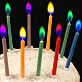 Birthday Cake Candles in Holders Cake Tricks and Decorations – Colors: red, Pink, Yellow, Blue, Green, Purple – 12 Pieces (12)