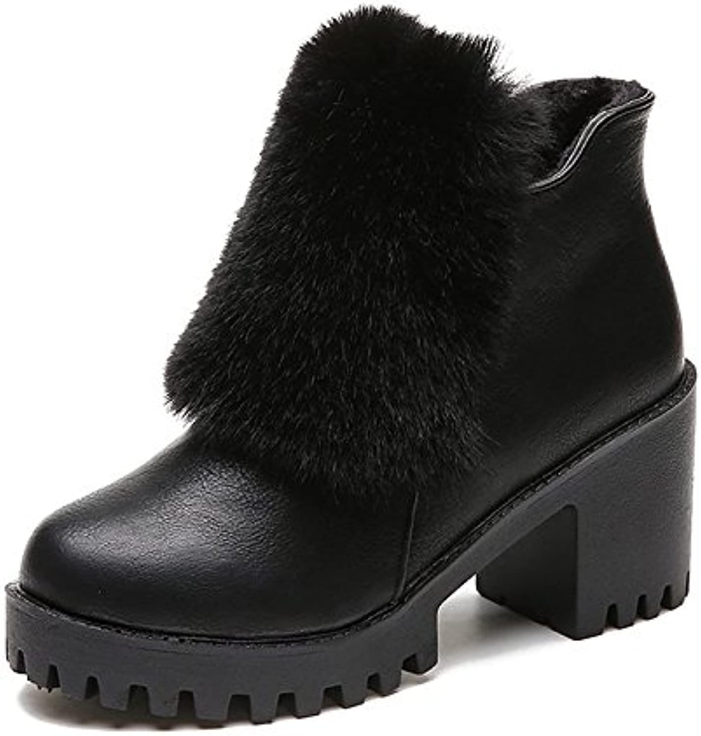HSXZ Women's shoes PU Winter Fall Comfort Fashion Boots Boots Chunky Heel Round Toe for Casual Black