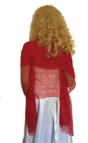LadyMYP LadyMYP 125cmX190cm Einfarbiger Schal Stola aus Baumwolle und hochwertiger Spitze, mehrere Farben zur Wahl (rot)
