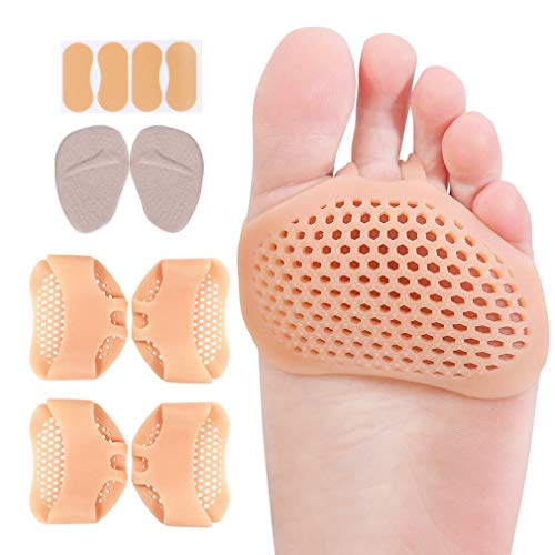 Metatarsal Pads Ball of Foot Cushions for Women Men, Gel Forefoot Pads for Calluses Bunions Morton Neuromas Foot Pain Relief (Beige)