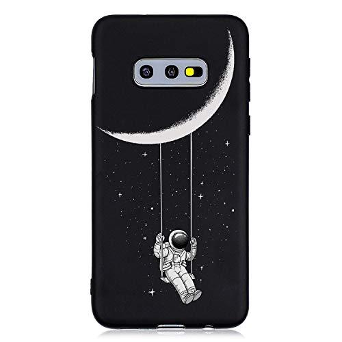 ChoosEU Compatibile con Cover Samsung Galaxy S10e Silicone Nero Disegni Colorate Custodia Morbido per Ragazze Donne Uomo, Case Antiurto Divertente Gomma Slim Protezione - Astronauta