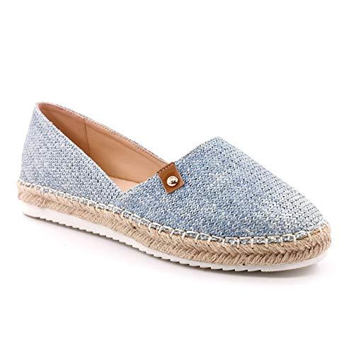 Angkorly - Damen Schuhe Espadrille - Strand - Slip-on - Böhmen - mit Stroh - Geflochten - Nieten-Besetzt Flache 3 cm - Blau 8 LX-59 T 38