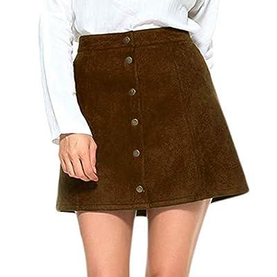 Women Button Mini Skirt Female Vintage Solid Color Suede High Waist Plain A-Line Ladies Short Skirts New 2019