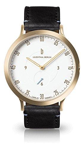 Lilienthal Berlin - Made in Germany - Die neue Uhr aus Berlin. Modell L1, Edelstahl Gehaeuse (Gehäuse: gold / Zifferblatt: weiß / Armband: schwarz, klein 37,5mm)