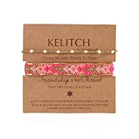 KELITCH 2PCSカラフルストランドブレスレットボヘミアン友情パールビーズブレスレットファッションジュエリー(グリーンピンクH)