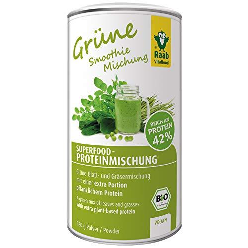 Raab Vitalfood Bio Superfood Protein-Mischung grün, 42 % Protein, Spinat, Weizengras, Gerstengras, Moringa, Erbsenprotein, vegan, glutenfrei, 180 g
