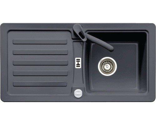 Einbauspüle PRIMA 45 granit graphit eurostone, mit Excenter, inkl. A/Ü-Garnitur