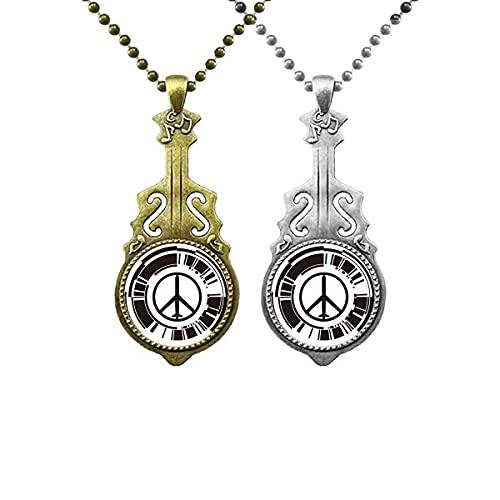 Friedenssymbol Plane Anti-Kriegs Design Muster Liebhaber Musik Gitarre Anhänger Schmuck Halskette Anhänger
