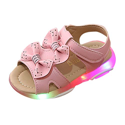 Zapatos de bebé Sandalias niña 0-4 años Bebé Cuna para bebés recién Nacidos Zapatos Bowknot Led Light Luminous Sport Sandalias Zapatillas de Deporte Lonshell