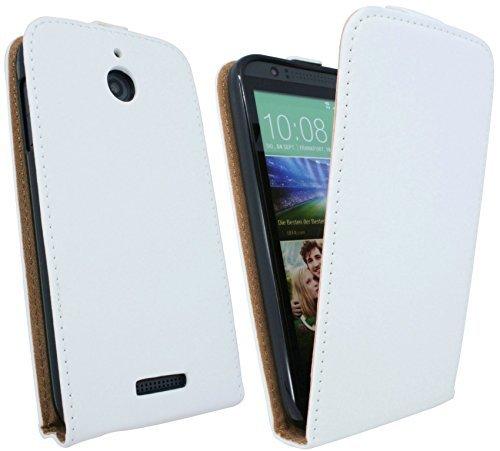ENERGMiX Handytasche Flip Style kompatibel mit HTC Desire 510 in Weiß Klapptasche Hülle