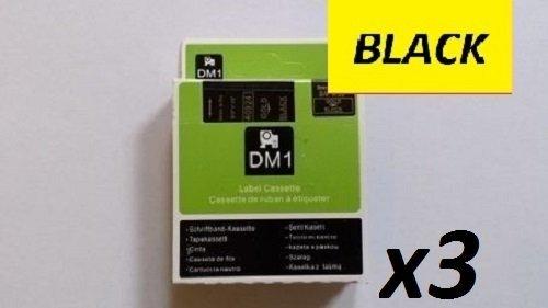 Etikettierband, kompatibel mit DYMO D1-Serie, 3 Stück 45018 12 mm x 7 m, Schwarz auf Gelb