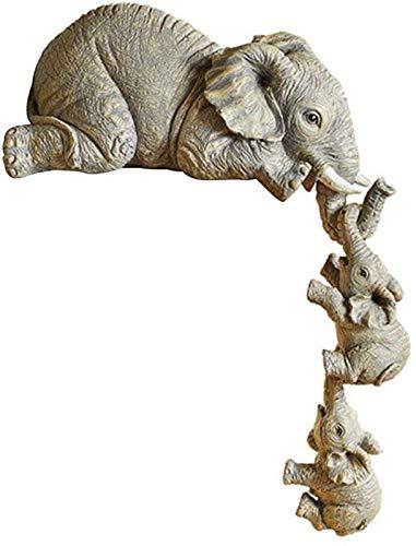 Handgeschilderde hars beeldjes, olifant moeder twee babys hangende rand, olifant oppas ornament, plank tafel cadeau voor thuis desktop