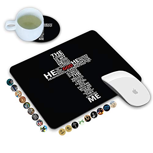 LOWORO Mouse Pad and Coasters Set, God Jesus Christ Christian Cross Mouse Pad, Non-Slip Rubber Base Rectangle Mouse Pads for Laptop and Computer Office Accessories