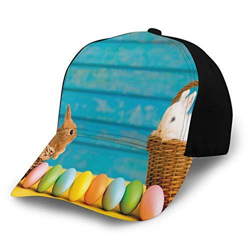 FULIYA Unisex Vuoto Lavato Basso Profilo Cotone Papà Cappello Baseball Cap Due Carini Conigli di Pasqua con Sfondo In Legno Blu Tinte Pastello Uova