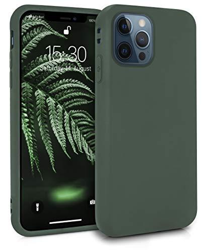 MyGadget Funda Slim para Apple iPhone 12 Pro MAX en Silicona TPU - Resistente Carcasa Antichoque Flexible & Protectora - Friendly Pocket Case - Verde Oscuro