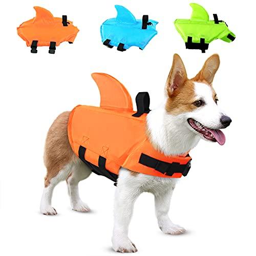 SUNFURA Haustier-Schwimmweste, Hunde-Badeanzug mit Haiflosse, Schwimmhilfe mit hervorragendem Auftrieb und Rettungsgriff für kleine, mittelgroße und große Hunde (Orange, XS)