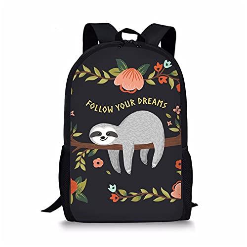 Showudesigns Children Schoolbag Kids Bookbag Floral Sloth'Follow Your Dreams' Girls Boys School Backpack Zipper